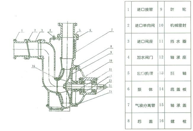 ZW型系列无堵塞排污式自吸泵结构图